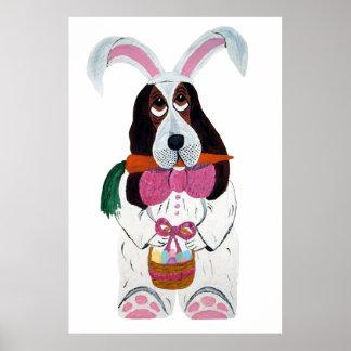 Basset Hound Easter Bunny Poster