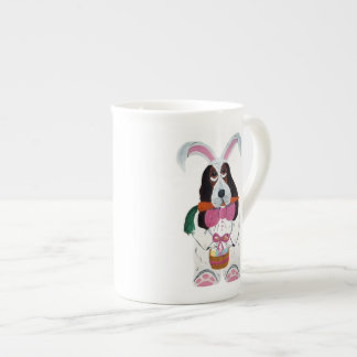 Basset Hound Easter Bunny Bone China Mug