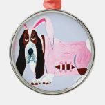 Basset Hound en juego rosado del conejito Ornamentos Para Reyes Magos