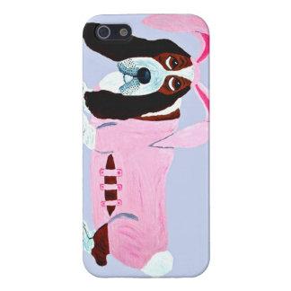Basset Hound en juego rosado del conejito iPhone 5 Coberturas