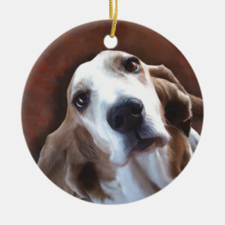 Basset Hound Fine Art Painting Portrait Ceramic Ornament