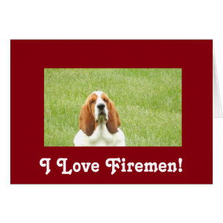 Basset Hound Fireman greeting card