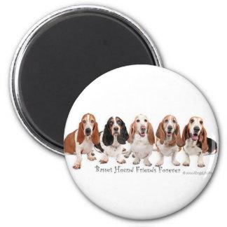 Basset Hound Friends Forever 2 Inch Round Magnet