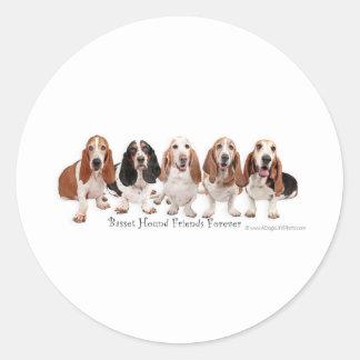 Basset Hound Friends Forever Classic Round Sticker