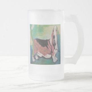 Basset Hound Frosted Glass Beer Mug