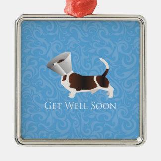 Basset Hound Get Well Soon Design Metal Ornament