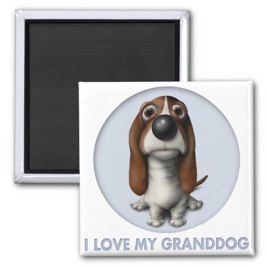 Basset Hound Granddog 2 Inch Square Magnet