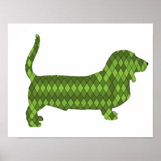 basset hound green poster