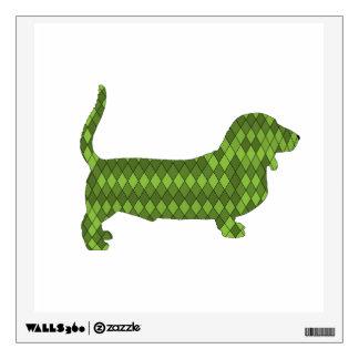 basset hound green wall decal