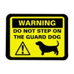 Basset Hound Guard Dog Warning Rectangular Photo Magnet