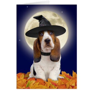 Halloween Themed Basset Hound Halloween Card