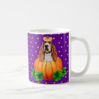 Basset Hound Halloween Jack-O-Lantern Coffee Mugs