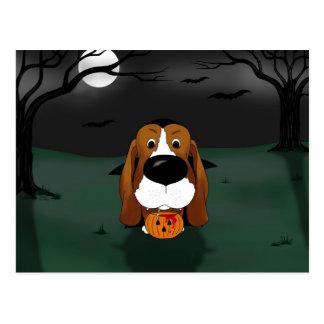 Basset Hound Halloween Vampire Postcard