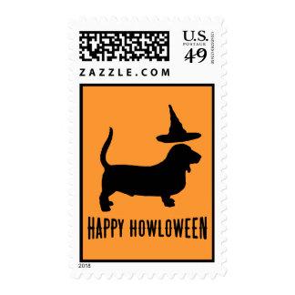 Basset Hound Happy Howloween Custom Postage Stamp