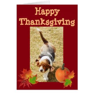 """Basset Hound """"Happy Thanksgiving"""" Card w/Pumpkin"""