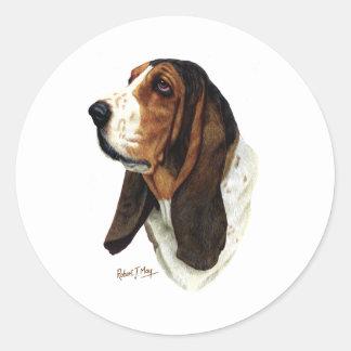 Basset Hound Head 1 Round Sticker