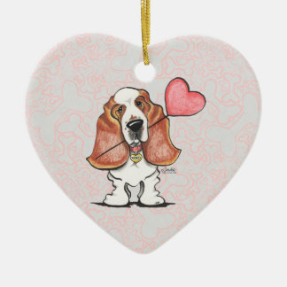Basset Hound Heart Balloon Christmas Ornaments