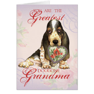 Basset Hound Heart Grandma Card