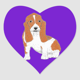 Basset Hound heart Shaped Stickers