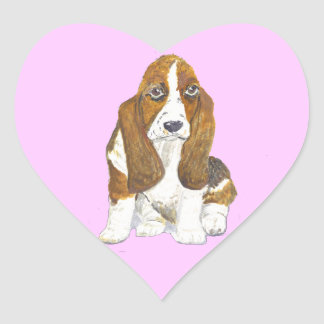 Basset Hound Heart Sticker