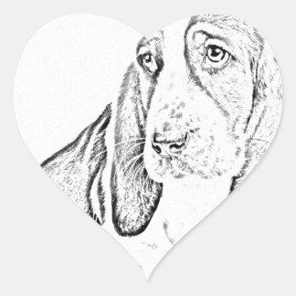 Basset hound heart sticker