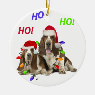 Basset Hound Ho Ho Ho Christmas   Ornament