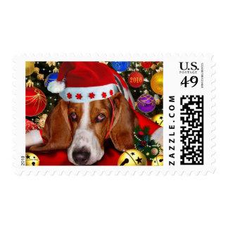 Basset Hound Holiday Stamp