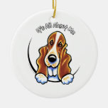 Basset Hound IAAM Double-Sided Ceramic Round Christmas Ornament