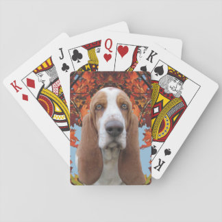 Basset Hound in Autumn Playing Cards