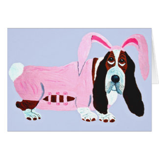 Basset Hound In Pink Bunny Suit Greeting Card