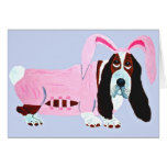 Basset Hound In Pink Bunny Suit Cards