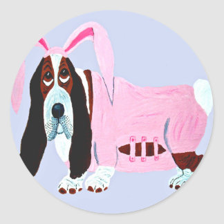 Basset Hound In Pink Bunny Suit Classic Round Sticker