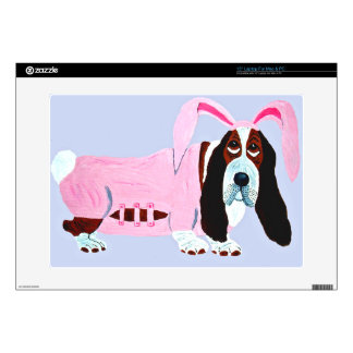 """Basset Hound In Pink Bunny Suit Decal For 15"""" Laptop"""