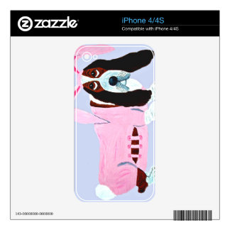 Basset Hound In Pink Bunny Suit iPhone 4S Decals