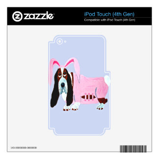 Basset Hound In Pink Bunny Suit iPod Touch 4G Decals