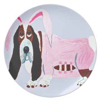 Basset Hound In Pink Bunny Suit Plate