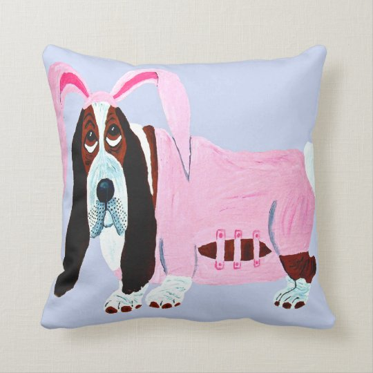 Basset Hound In Pink Bunny Suit Throw Pillow