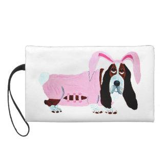 Basset Hound In Pink Bunny Suit Wristlet Purse