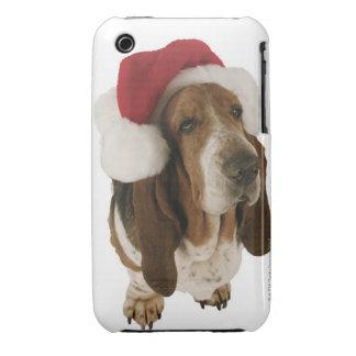 Basset hound in Santa hat iPhone 3 Cases