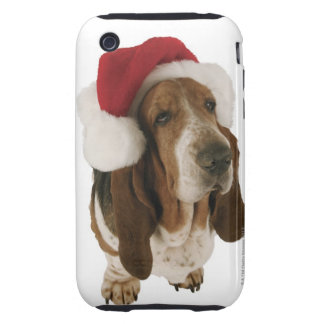 Basset hound in Santa hat Tough iPhone 3 Covers