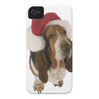 Basset hound in Santa hat iPhone 4 Covers
