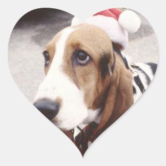 Basset Hound in Santa Hat Heart Sticker