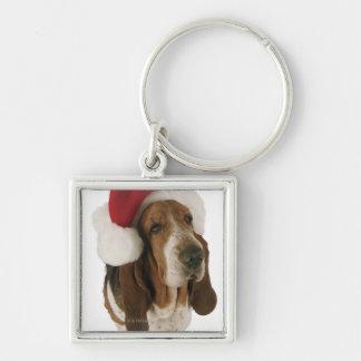 Basset hound in Santa hat Keychain