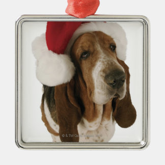 Basset hound in Santa hat Metal Ornament