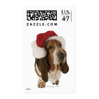 Basset Hound in Santa Hat Postage Stamp