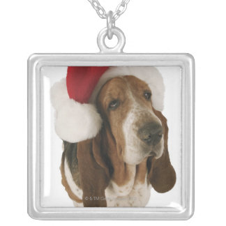 Basset hound in Santa hat Silver Plated Necklace