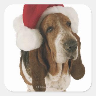 Basset hound in Santa hat Square Sticker
