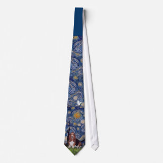 Basset Hound in Starry Night Tie