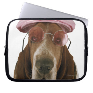 Basset hound in sunglasses and cap laptop sleeve