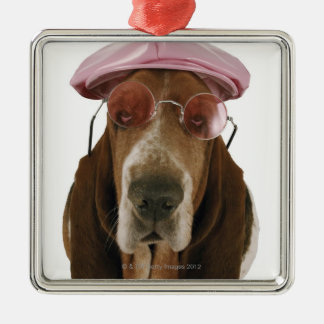Basset hound in sunglasses and cap metal ornament